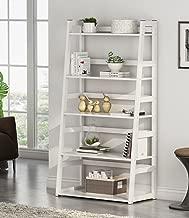 Tribesigns 5-Tier Ladder Shelf, 5 Shelf Modern Bookshelf and Bookcase Freestanding Leaning Shelf for Living Room Home Office (White)