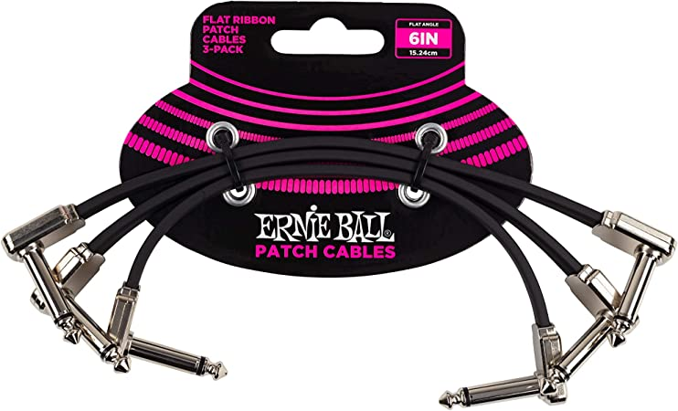 White Ernie Ball 6/'/' Inch Flat Angle Pancake Pedalboard Patch Cable 3 Pack