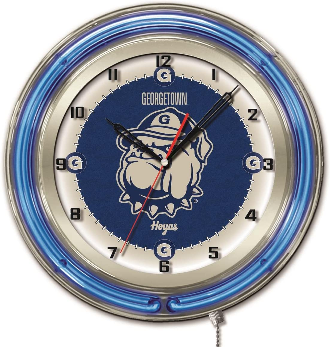 Georgetown Hoyas HBS Neon Super Special SALE held Blue College Battery Cloc 5% OFF Powered Wall