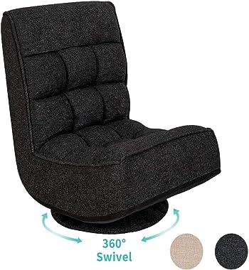 High Back Folding Floor Gaming Chair,360-Degree Swivel Floor Lazy Sofa Chair,High Back Padded Backrest Lounger Sleeper Game R