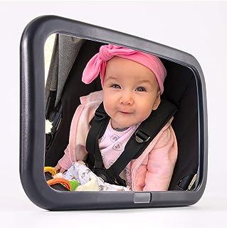 """آینه اتومبیل کودک PH AUTO برای Backseat. فوق العاده بزرگ W 12 """"x H 7.5"""" نمای گسترده ای از کودک در پشت کودک. کاملاً مونتاژ شده ، ضد آب. کریستال شفاف. بهترین هدیه دوش کودک"""