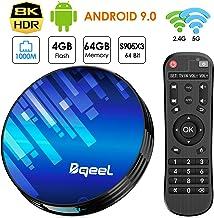 Android TV Box 9.0 4GB RAM 64GB ROM, Bqeel TV Box Android S905X3 Quad-Core 64bit with Dual-WiFi 2.4GHz/5GHz, 3D Ultra HD 8K H.265 1000M, BT 4.0 USB 3.0 Smart TV Box