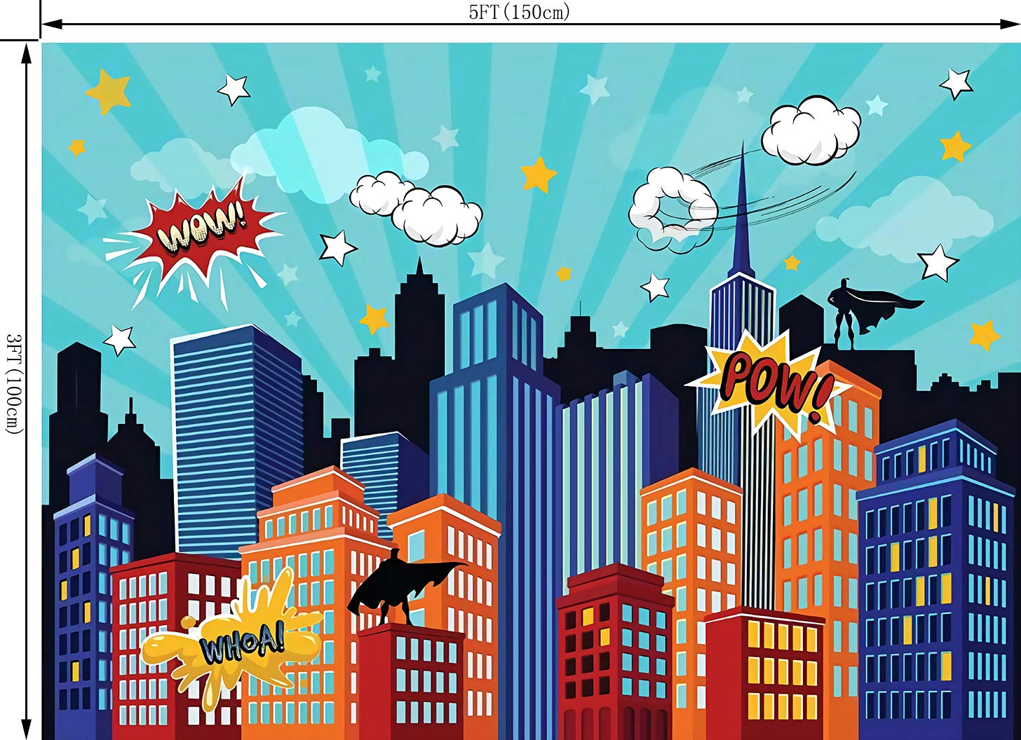 OUYIDA Super City Backdrop Children Baby Hero Birthday Party Event Banner Wow Pow Vinyl Photography Backdrop 7X5FT Photo Background Studio Prop PCK70A