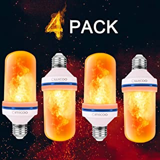Pretigo-LED Flame Effect Light Bulb 4 Modes with Upside Down Effect E26 Base LED Bulb Flame Bulb for Christmas Home/Hotel/Bar Party Decoration(4 Pack)