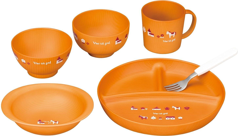 狂う面倒芽カノー 子ども用食器セット ライトブラウン 径21×2.5cm ノルディ キッズセット S5 6点入