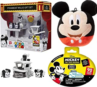 Tsum Tsum Triple Mickey Me & Steamboat Figures Bundled Mickey Mouse Friends Edition 90 Years Black & White Exclusive Collection Character True Original Minnie Bundled with Soft Blind Bag + Fluff Ball