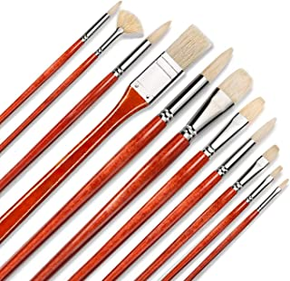 11pcs Professional Paint Brush Set-100% Natural Chungking Hog Bristle Artist Brushes for Acrylic Gouache Oil Painting with...