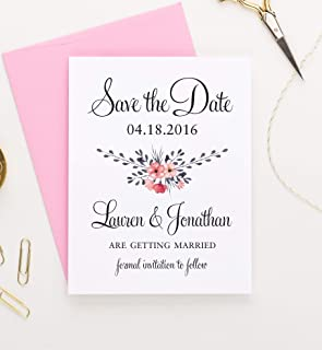 Floral Save the Date, Save the Date Cards for Weddings Rustic, Save the Date Wedding, Save the Date Wedding Invites, Save the Date Personalized, Your choice of Quantity and Envelope Color