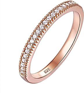 Newshe Wedding Bands للنساء خواتم الذهب الخالصة الفضة الاسترليني مكعب زركونيا تكديس الحجم 5-10