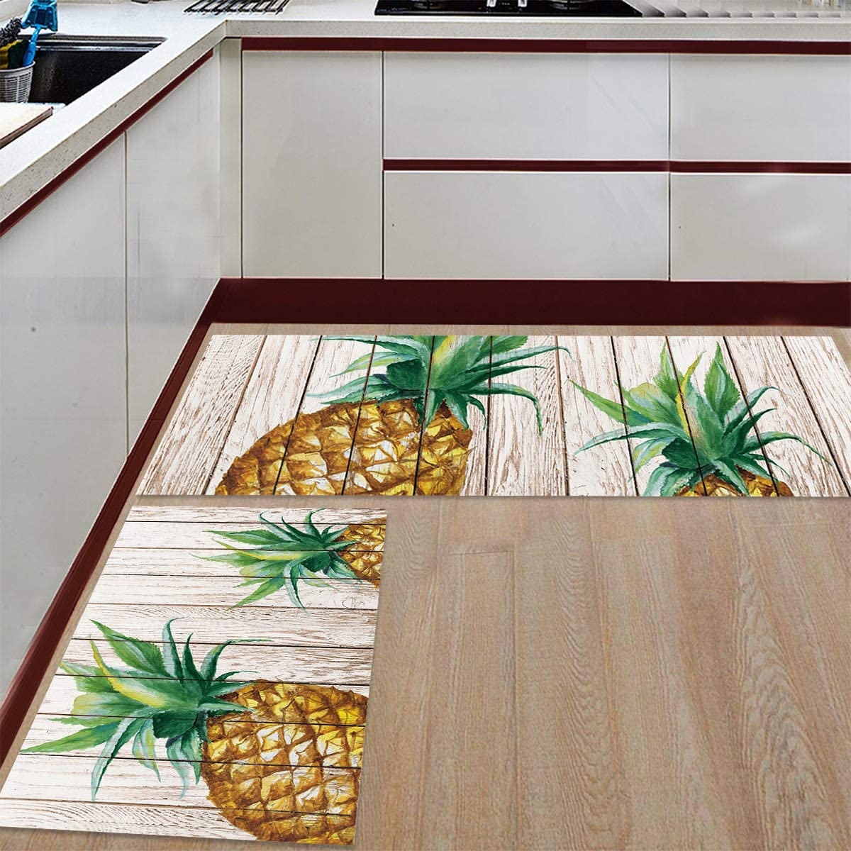 Sales results No. 1 Watercolor Pineapple on Wood Decorative Se Free shipping Kitchen Mats and Rugs