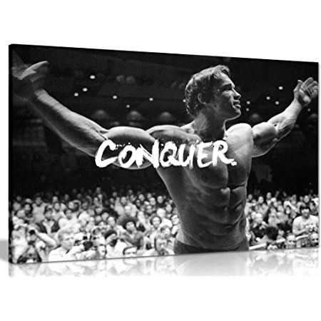 Panther Print, Large Canvas Wall Art, Beautiful Living Room Framed Art, Quality Picture Prints for Walls, Motivational Design, Arnold Schwarzenegger Conquer, Print for Special Occasions (76x51cm)