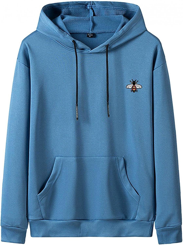 Huangse Men's Plus Size Hoodie Long Sleeve Pullover Sweatshirt with Kangaroo Pocket Loose Fit Drawstring Hoodie Sports Coat