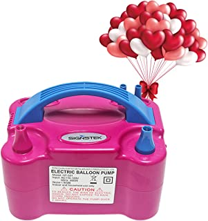Signstek Electric Air Balloon Pump Blower/Inflator for Party Decoration, Portable Dual Nozzle Rose Red 110V 600W