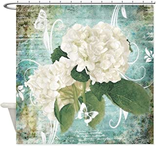 Afagahahs Shower Curtain,White Hydrangea on Blue Decorative Design Curtain Polyester Waterproof Fabric with 12 Hooks,66 X 72 Inches