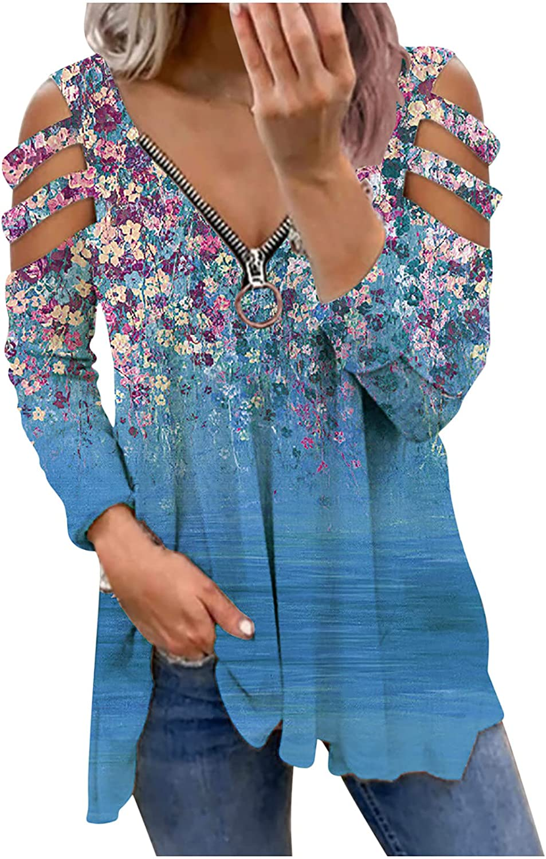 Fashion Womens Floral Blouse V-Neck Zipper Long Sleeve Flower Print Shirt Tops Off Shoulder Casual Dress Shirts