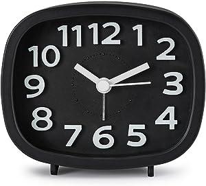 SODIAL Sveglia senza ticchettio, comodino alimentato a batteria silenzioso Semplice da impostare orologi da viaggio con luce notturna(Nero)
