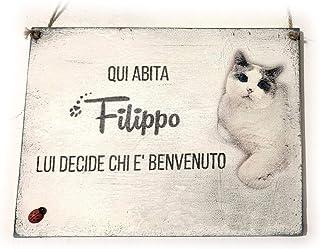 Targa di Benvenuto personalizzata con nome e foto di cane o gatto
