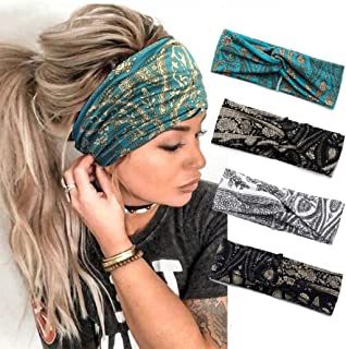 Catery Boho Headbands Criss Cross Headband Headpiece Bohemia Floal Twist Head Wrap Hair Band Vintage Stylish Elastic Turban Fabric Hairbands Fashion Hair Accessories for Women(Pack of 4) (Vintage-4 Pack)