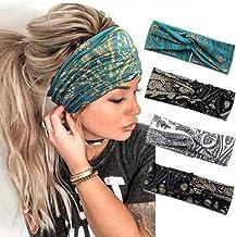 Catery Boho Headbands Criss Cross Headband Headpiece Bohemia Floal Twist Head Wrap Hair Band Vintage Stylish Elastic Turba...