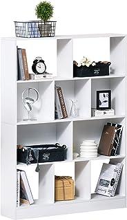 HOMCOM Estantería Librería de 4 Niveles con 10 Compartimentos Estantes de Almacenaje Multiusos para Libros Plantas 100x23,...