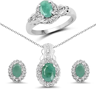 Emerald Ring, Earring & Pendant Set, 2.40 Carat Genuine Emerald & White Topaz .925 Sterling Silver Ring, Earrings & Pendan...