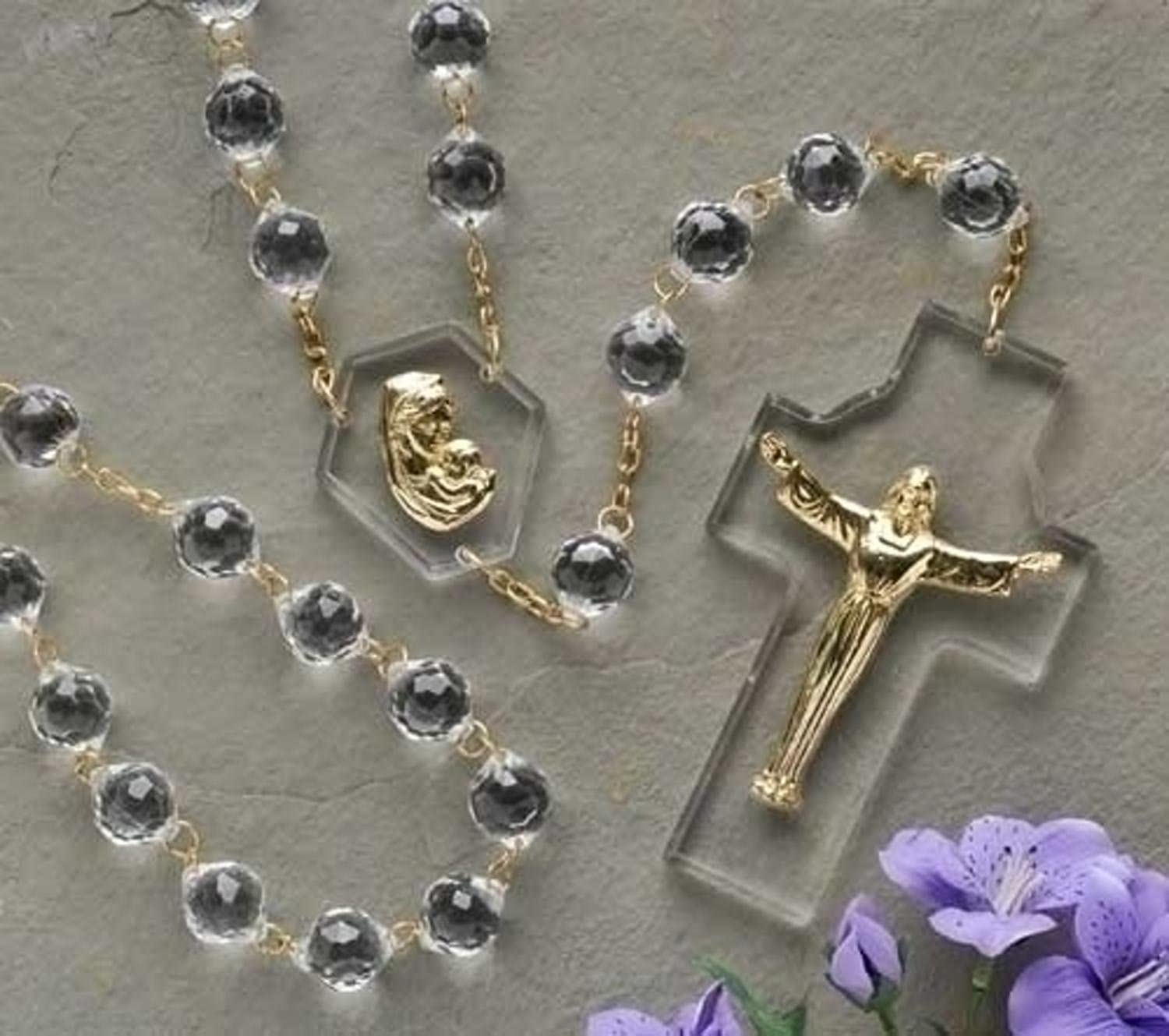 54  Gift Boxed Crystal Risen Christ Cross and Mawomen Wall pinkry