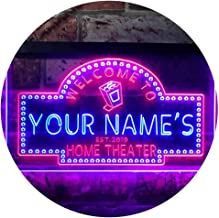 Personalized Your Name Est Year Theme Home Theater Cinema Dual Color LED Neon Sign Red & Blue 400 x 300mm st6s43-ph2-tm-rb