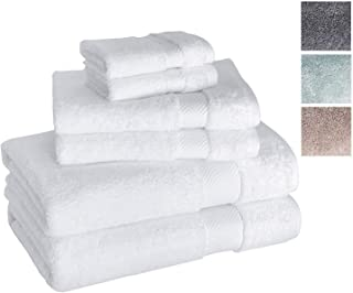 Towels Beyond Luxury Zero Twist 6 Piece Bath Towel Set - Quick Dry Hotel and Spa Soft Cotton Linen Made with 100% Turkish Cotton (White)