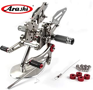 Arashi Rearsets Footrests FootPegs for KAWASAKI Ninja 300 EX300B ABS / EX300A/ EX300 ABS/ EX300A / SE 2013-2017 Motorcycle Accessories Adjustable Foot Peg Rest 2014 2015 2016 Gray 2014 2015 2016