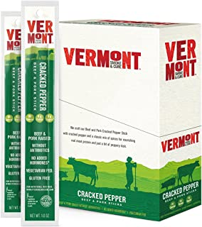 Vermont Smoke & Cure Beef & Pork Sticks, Antibiotic Free, Gluten Free, Cracked Pepper, 1oz Stick, 24 Count