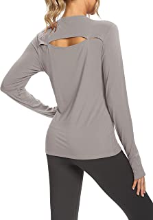 Bestisun Long Sleeve Open Back Workout Tops for Women Backless Long Sleeve Yoga Tops Athletic Running Shirts