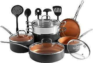 VonShef Copper Cookware Set, Copper Colored Aluminum Pan and Utensil Set Full Kitchen Bundle, Non-Stick, Easy Clean - 15 Piece Set