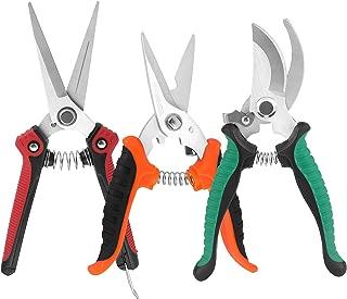 KeShi Pruner Shears Garden Cutter Clippers, Stainless Steel Sharp Pruner Secateurs, Professional Bypass Pruning Hand Tools Scissors Kit 3 PCS