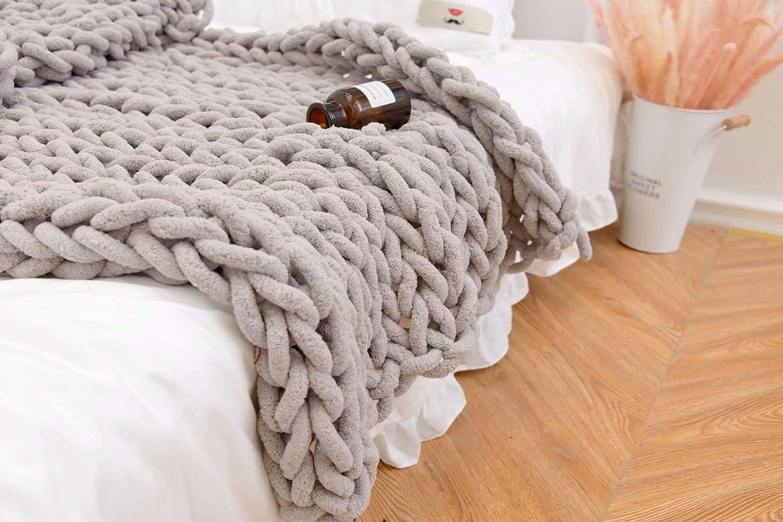 春の新作続々 GY Soft Chenille 定番スタイル Blanket - Pom-Poms Luxury Throw Chu Bedroom
