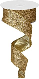 Glitter on Metallic Wired Edge Ribbon, 1.5