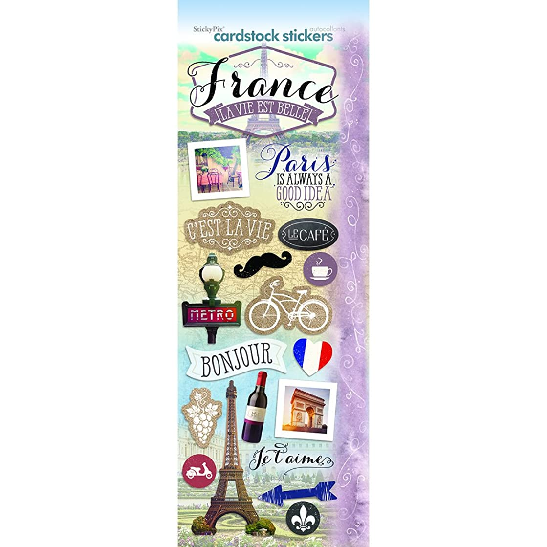 Paper House Productions STCX-0208E Discover France Cardstock Stickers, 4.625