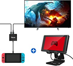 HDMI Type-C Hub Adapter and Switch Stand, Foldable Multi-Angle Game Stand Compatible with Nintendo Switch and Cell Phone/Tablet/ iPhone 7 6 Plus 5 5c(Black)