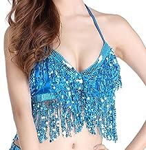 Wuchieal Women's Belly Dance Costume Sequin Bra Tassel Top with Chest Party Club Wear Bra Top
