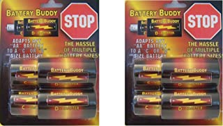 AA to C battery converter, AA to D battery spacer, C to D battery adapter by Battery Buddy (2 Pack)