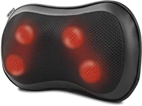 RENPHO Back Massager with Heat, Ultra Slim Shiatsu Lower Back Neck Massage Pillow, 3-Speeds with Net Cover Electric Shoulder Massage Pain Relief Gifts for Mom/Dad at Car Home Office