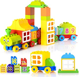 60 Pieces Number Train Learning and Counting Train Set Building Kit and Educational Toy for 2-5 Year Olds Kids Boys Girls Gift Compatible with Lego Duplo (Alphabet and Number Stickers Randomly)