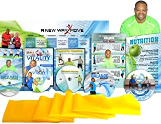 Premium, Senior Exercise DVD System: 5 DVDs + Resistance Band + Balance Exercises + Nutrition Guide + More. All Exercise for Seniors are Shown Both Standing and Seated in Chair Exercise You Will Love!
