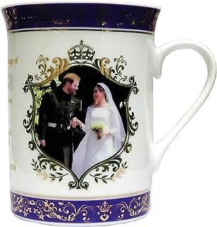 Elgate Royal Wedding Prince Harry & Meghan Souvenir - Taza de cerámica Dorada, Color Morado