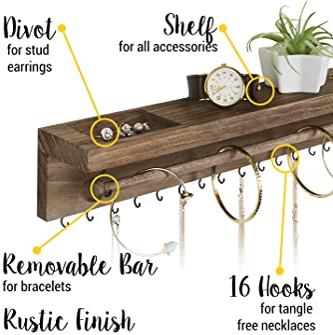 Rustic Jewelry Organizer Wall Mounted - Hanging Necklace Holder - Wall Mounted Jewelry Hanger - Farmhouse Wood Jewelr...