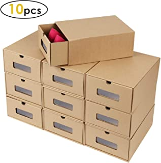 Prasacco Shoes Box, 10 Pack,Rugged, Durable, Perspective, Breathable, DIY Visible Cardboard Shoe Storage Boxes, 13 x9x5 inch, Designed to Woman's Size 11, Men's Size 10.5 MAX