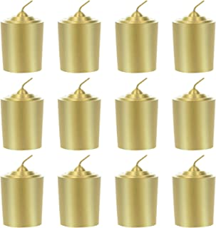 Mega Candles 12 pcs Unscented Gold Votive Candle, Hand Poured Wax Candles 15 Hours 1.5 Inch x 2.25 Inch, Home Décor, Wedding Receptions, Baby Showers, Birthdays, Celebrations, Party Favors & More