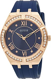GUESS - GW0034L4 - WATCH FOR LADIES ROSE GOLD WITH CRYSTALS & BLUE SILICONE STRAP ROMAN NUMBERS
