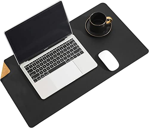 Aothia Eco-Friendly Natural Cork & Leather Double-Sided Office Desk Pad & Mat Mouse Pad Smooth Surface Soft Easy Clea...