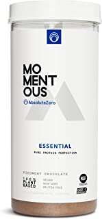 AbsoluteZero 100% Plant-Based Protein Powder, 20 Servings Per Jar for Essential Everyday Use, Vegan, Gluten-Free, Non-GMO, NSF Certified - Live Momentous (Chocolate)