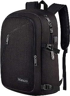 Mancro 盗難防止耐傷付 大容量 防水軽量バックパック USB充電ポートと 15.6インチに 適合 軽量 大学生 高校生 バックパック ビジネスバッグ 撥水 大容量 無地 アウトドア 旅行 男女兼用 (ブラック)